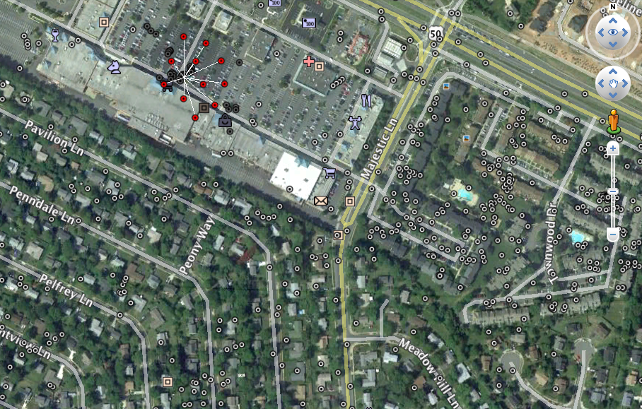 Wi-Fi Points near Greenbriar shopping center. Expanded red points from WiFiHarvest.