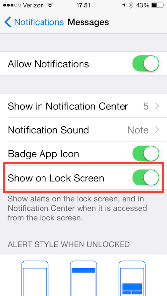 iOS SMS Notification Settings