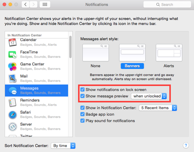Yosemite SMS Notification Settings