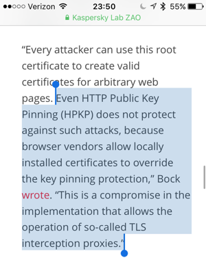Browsers let local certs override HPKP